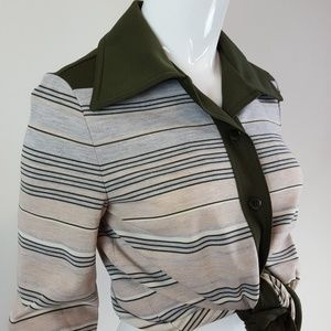Vintage 70's Green Striped Button-Up Shirt